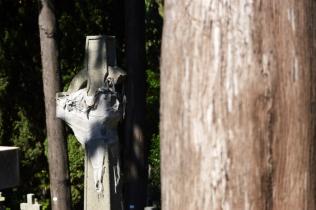 Una croce ferita nel cimitero acattolico